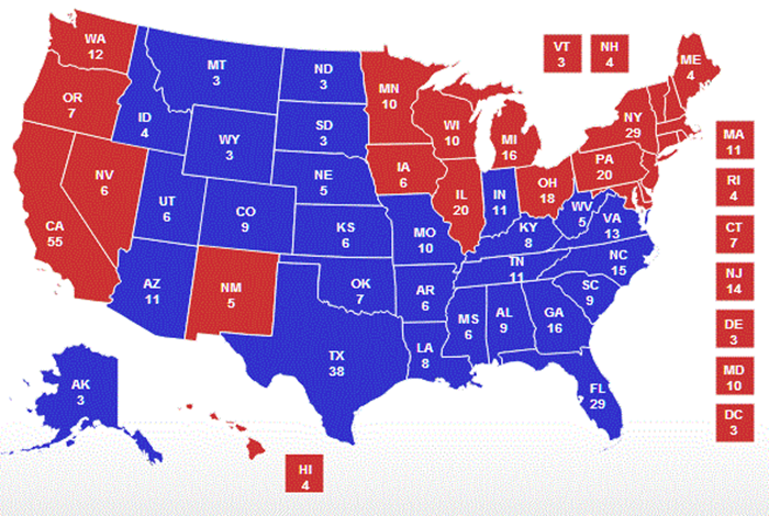 TRUTH IN ADVERTISING DEMAND THAT DEMOCRAT STATES BE RED AND - Democrat republican map