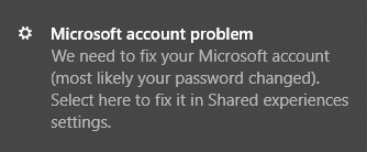 fix microsoft account pop up